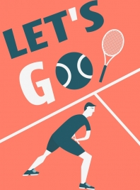 tennis banner player icon texts ball decoration