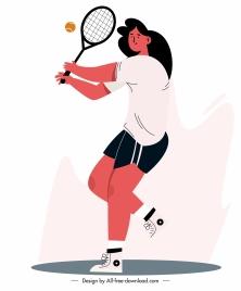 tennis sport icon dynamic girl sketch cartoon design