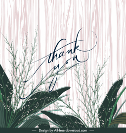 thank card cover template elegant plant wooden backdrop