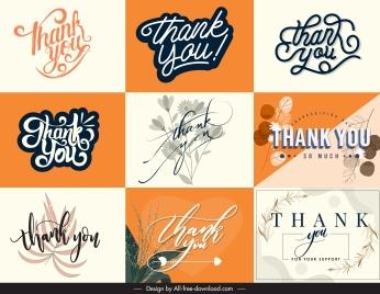thanking card decor templates elegant calligraphic plants sketch