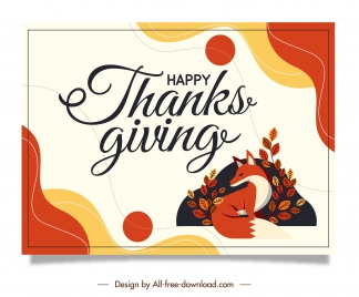 thanks giving card template colorful classic fox leaves
