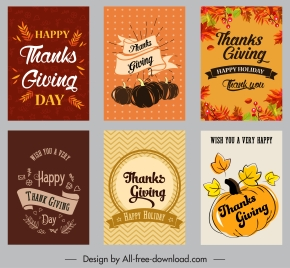 thanksgiving cards templates colorful classical leaves pumpkin decor