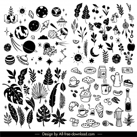 things icons collection black white classic handdrawn sketch