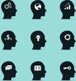 thoughtful human head icons collection black silhouette style