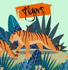 tiger drawing colorful cartoon design