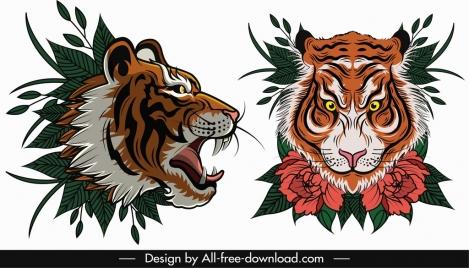 tiger face templates violent sketch flora leaf decor
