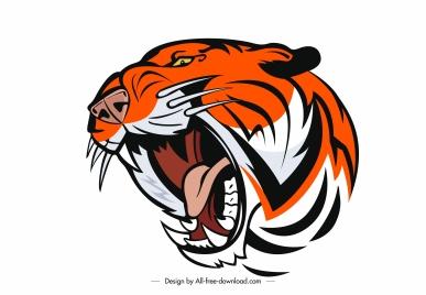 tiger head icon aggressive sketch handdrawn design