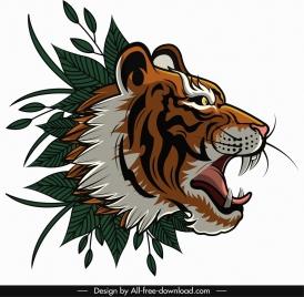 tiger head icon classical design leaves decor