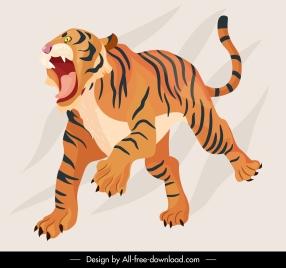 tiger icon 3d handdrawn sketch dynamic design