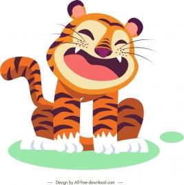 tiger icon funny cartoon character sketch