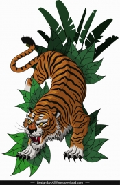 tiger icon hunting gesture sketch colored cartoon design