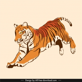 tiger icon motion sketch classic handdrawn