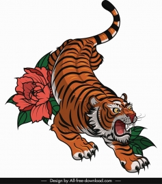 tiger painting colored cartoon sketch