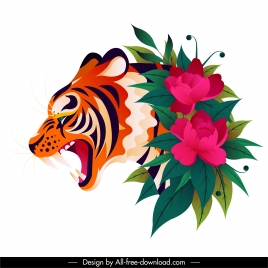 tiger painting flowers decor colorful classic