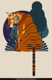 tiger painting sitting gesture classical colored design