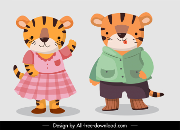 tigers characters icons stylized design cartoon characters