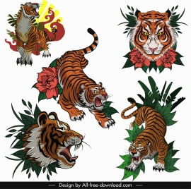 tigers icons colored classical sketch