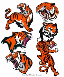 tigers icons dynamic aggressive sketch colored handdrawn