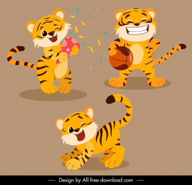 tigers icons playful gestures stylized cartoon sketch