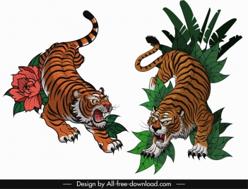 tigers icons violent emotion sketch colored classical design