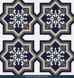 tile decorative elements flat classical symmetric shapes