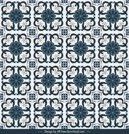 tile pattern template flora sketch symmetric flat repeating