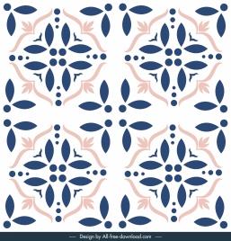 tile pattern template floral sketch symmetric classic decor