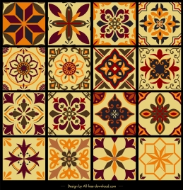 tile pattern templates collection classical symmetric flora sketch