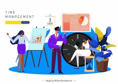 time management banner business icons clock calendar sketch
