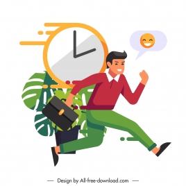 time management conceptual painting running staff clock sketch
