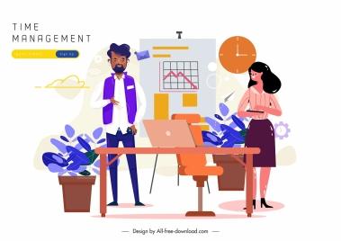 time management poster business staffs office elements sketch