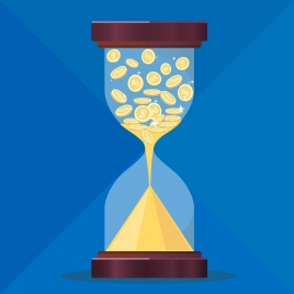 time value conceptual background coins hourglass icons