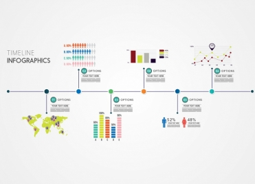 timeline infographic flat flowchart decoration