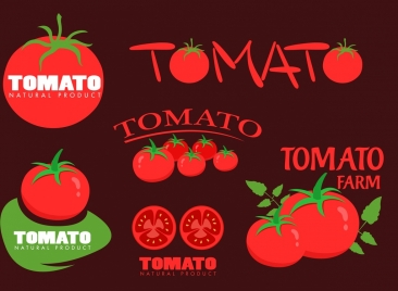 tomato logotypes red design various shapes decoration