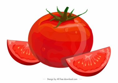 tomato painting fresh slices sketch red classic design