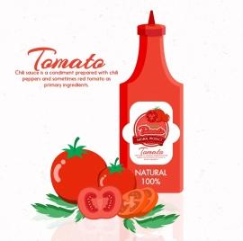 tomato sauce advertisement red bottle fruit icons decor