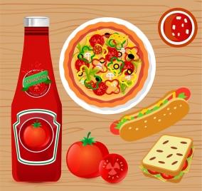 tomato sauce advertising flat design fast food icons