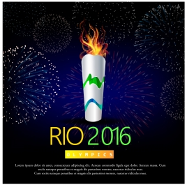 torch of olympic rio de janeiro 2016 background design templates