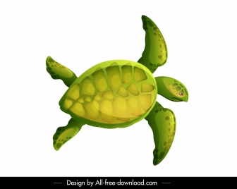 tortoise icon colorful flat sketch swimming gesture