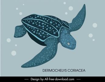 tortoise species icon swimming sketch handdrawn design