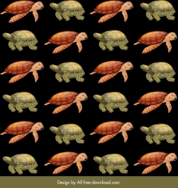 tortoises turtles pattern dark colored repeating sketch