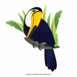 toucan bird icon perching sketch cartoon design