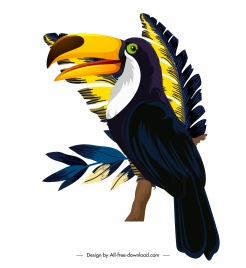toucan bird painting colorful classical design perching gesture