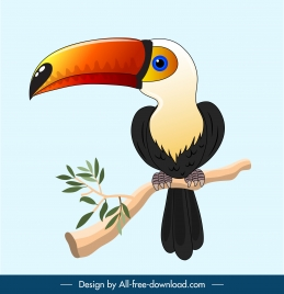 toucan painting bright colorful handdrawn