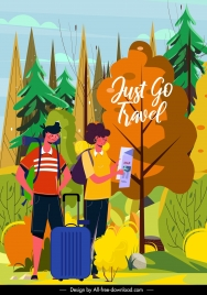 tourism banner backpack tourists forest offroad sketch