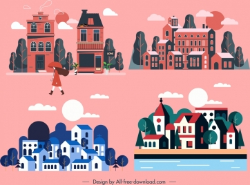 town background dark colored classical decor