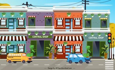 town background shops facade cars street decor