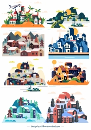 town icons colorful houses classic design