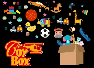 toy box advertising various colorful symbols decoration