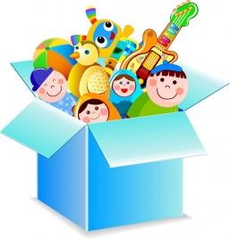 toy box icon various colorful symbols 3d design